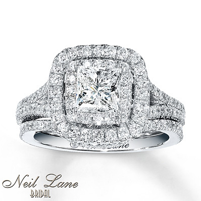 kay jewelers diamond bridal set 2 14 carats tw 14k white gold engagement - Wedding Rings At Kay Jewelers