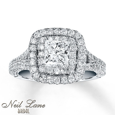 Kay Jewelers Diamond Engagement Ring 2 ct tw Princess-cut 14K White Gold- Engagement Rings