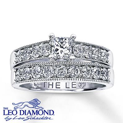 Kay Jewelers Diamond Bridal Set 1 1 4 Ct Tw Princess Cut 14K White Gold Rings