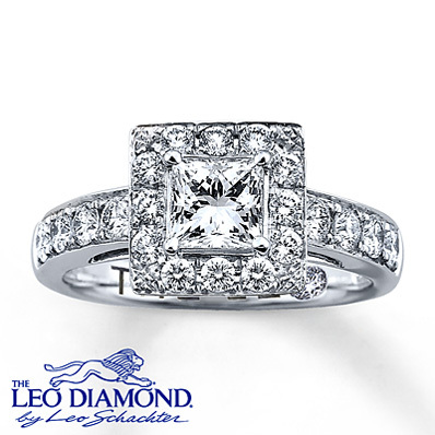 photo of Kay Jewelers Diamond Engagement Ring 1 1/3 ct tw Princess-Cut 14K White Gold- Rings