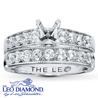 photo of Kay Jewelers Diamond Bridal Setting 7/8 ct tw Round-Cut 14K White Gold- Kay Design-A-Ring™