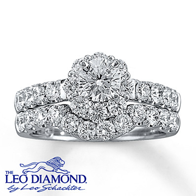Kay Jewelers Diamond Bridal Set 2 ct tw Round-Cut  14K White Gold- Rings