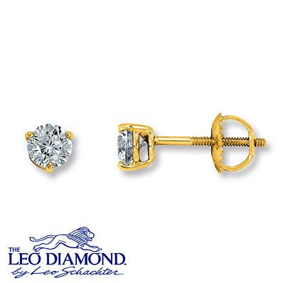 Kay Jewelers Diamond Earrings 1/2 Carat tw Round-cut 14K Yellow Gold- Diamond