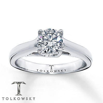 Kay Jewelers Diamond Solitaire Ring 3/4 ct Round-Cut 14K White Gold- Solitaires