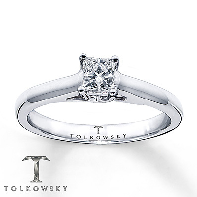 Kay Jewelers Diamond Solitaire Ring 1/3 ct Princess-Cut 14K White Gold- Solitaires