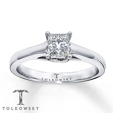 Kay Jewelers Diamond Solitaire Ring 1/2 ct Princess-Cut 14K White Gold- Solitaires