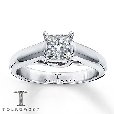 Kay Jewelers Diamond Solitaire Ring 3/4 ct Princess-Cut 14K White Gold- Solitaires