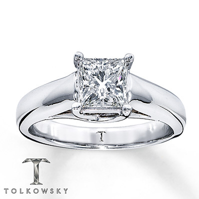 Kay Jewelers Diamond Solitaire Ring 1 ct Princess-Cut  14K White Gold- Solitaires
