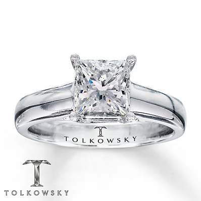Kay Jewelers Diamond Solitaire Ring 1 1/2 ct Princess-Cut 14K White Gold- Solitaires