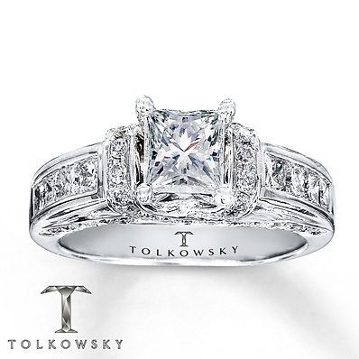Kay Jewelers Diamond Engagement Ring 1 3/8 ct tw Princess-cut 14K White Gold- Bridal