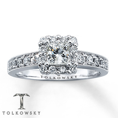 Kay Jewelers Diamond Engagement Ring 7/8 ct tw Princess-cut 14K White Gold- Bridal