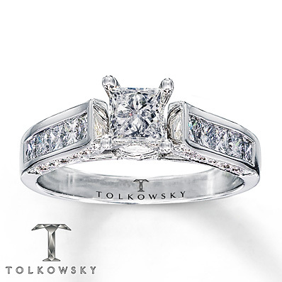 Kay Jewelers Diamond Engagement Ring 1 1/4 ct tw Princess-cut 14K White Gold- Bridal