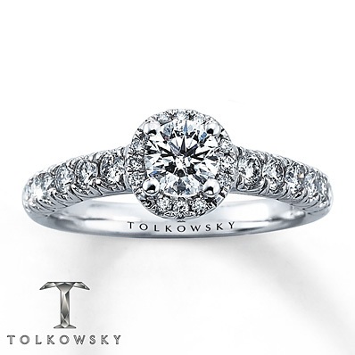 Kay Jewelers Diamond Engagement Ring 1 ct tw Round-Cut 14K White Gold- Bridal