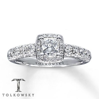 Kay Jewelers Diamond Engagement Ring 1 ct tw Princess-cut 14K White Gold- Bridal