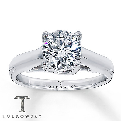 Kay Jewelers Diamond Solitaire Ring 4 ct Round-cut 14K White Gold- Solitaires