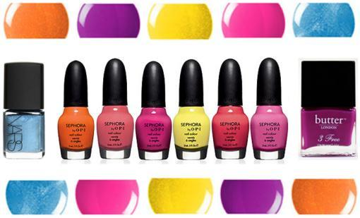 Hot nail polish colors for Spring/Summer 2009- orange, yellow, blue, fuchia