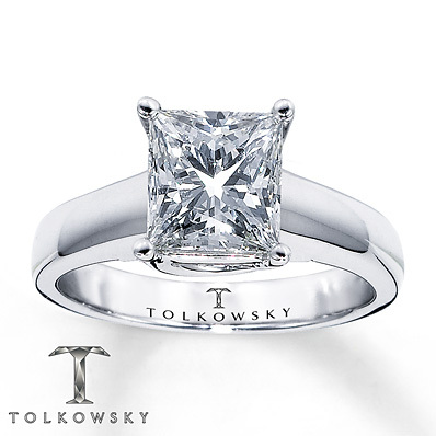 Kay Jewelers Diamond Solitaire Ring 2 ct Princess-Cut 14K White Gold- Solitaires