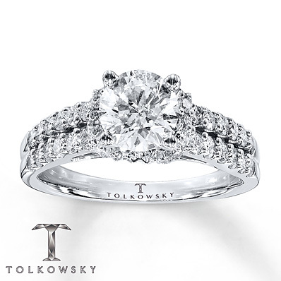 Kay Jewelers Diamond Engagement Ring 1 5/8 ct tw Round-Cut 14K White Gold- Bridal