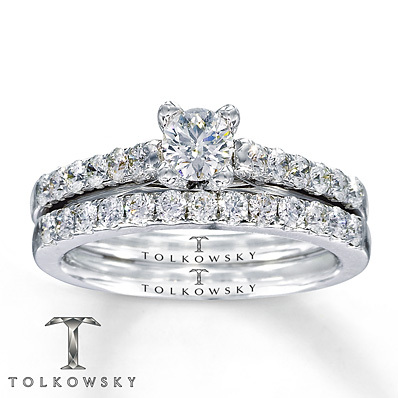 Kay Jewelers Diamond Bridal Set 7/8 ct tw Round-cut 14K White Gold- Bridal