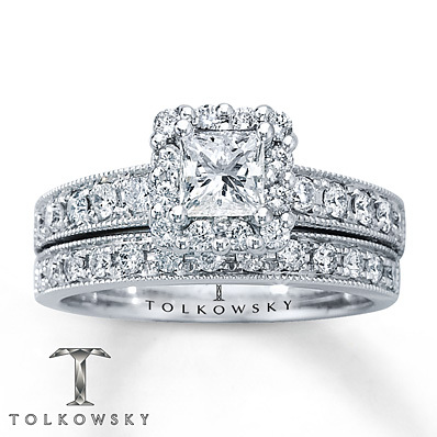 Kay Jewelers Diamond Bridal Set 1 1/6 ct tw Princess-cut 14K White Gold- Bridal