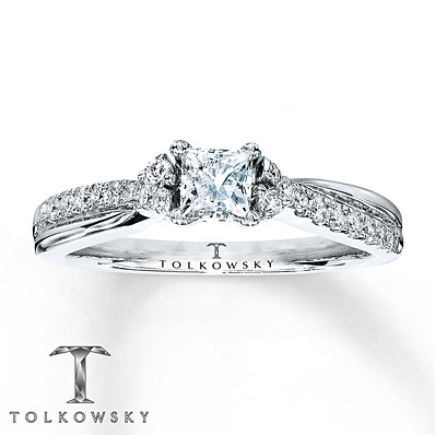 Kay Jewelers Diamond Engagement Ring 5/8 ct tw Princess-cut 14K White Gold- Bridal