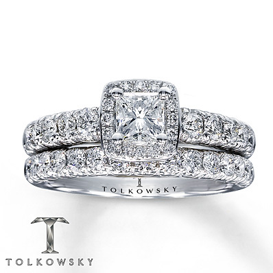 Kay Jewelers Diamond Bridal Set 1 3/8 ct tw Princess-cut 14K White Gold- Bridal