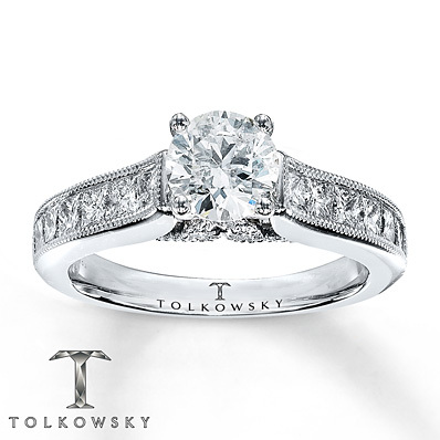 Kay Jewelers Diamond Engagement Ring 1 7/8 ct tw Round-cut 14K White Gold- Engagement Rings