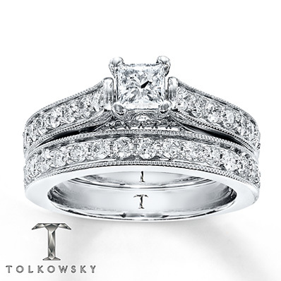 Kay Jewelers Diamond Bridal Set 1 1/3 ct tw Princess-cut 14K White Gold- Engagement Rings