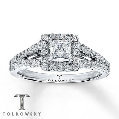 kay jewelers diamond engagement ring 78 ct tw princess cut 14k white gold - Kays Jewelers Wedding Rings