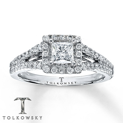 Kay Jewelers Diamond Engagement Ring 7/8 ct tw Princess-cut 14K White Gold- Engagement Rings