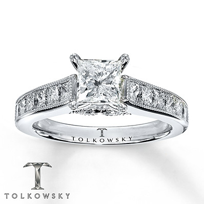 Kay Jewelers Diamond Engagement Ring 1 7/8 ct tw Princess-cut 14K White Gold- Engagement Rings