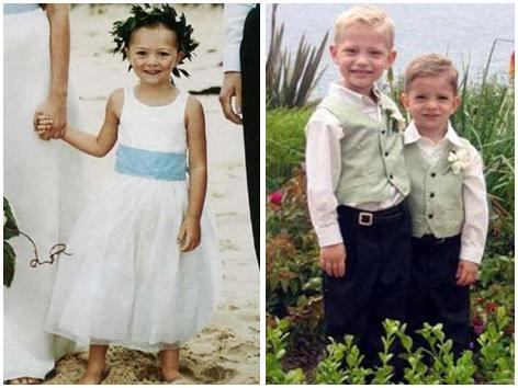 Flower girl in white dress, light blue sash.  Two tiny boys wear light sage colored vests, white shi