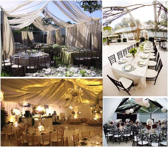 Start with a tent, and transform your backyard wedding into whatever you desire