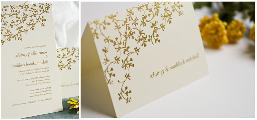 Thermography wedding invitations- vibrant gold on white luxurious ...