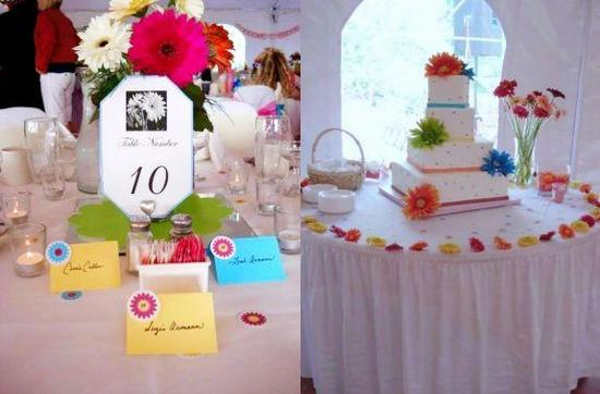 Beautiful and colorful tablescape and cake table- white wedding cake with colorful flowers