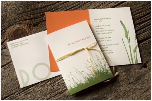 White letterpress wedding stationery with vibrant green grass and orange details, organic feel