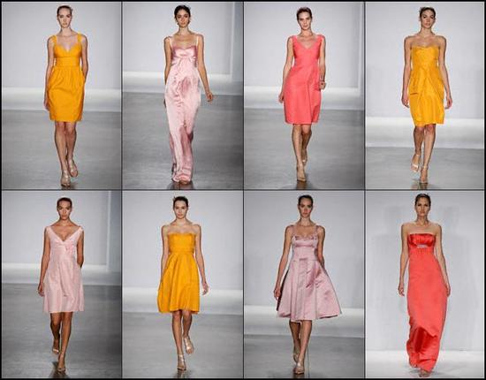 Priscilla of Boston bridal party dresses in tropical colors- coral, deep yellow, clementine, english