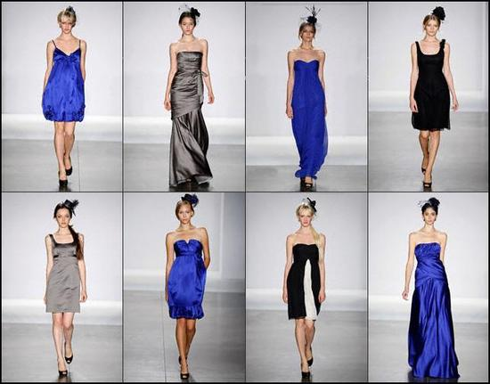 Bold Priscilla of Boston bridal party dresses in cobalt, graphite, black, white