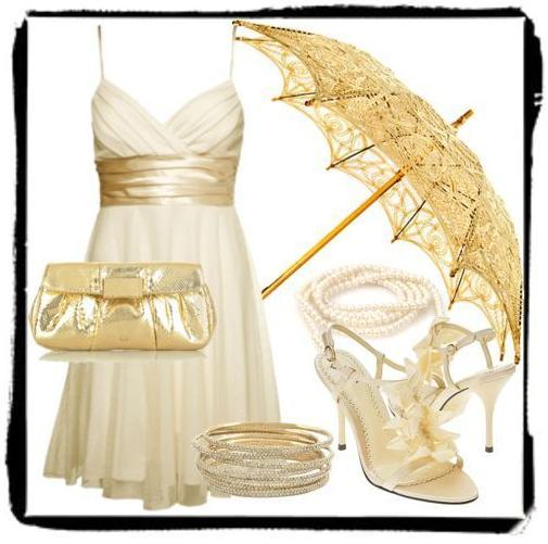 Gold, shimmer, and a beautiful gilded parasol- perfect for your wedding day