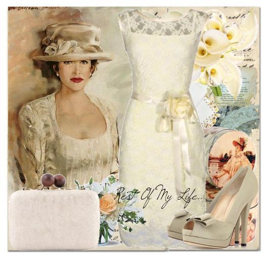 Vintage painting with white lace short wedding dress and peep toe Louboutins