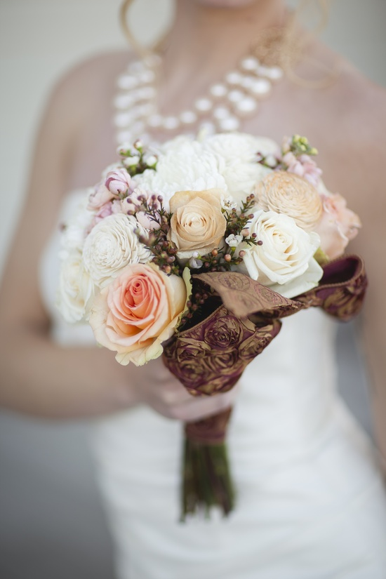Rustic spring bridal bouquet of roses