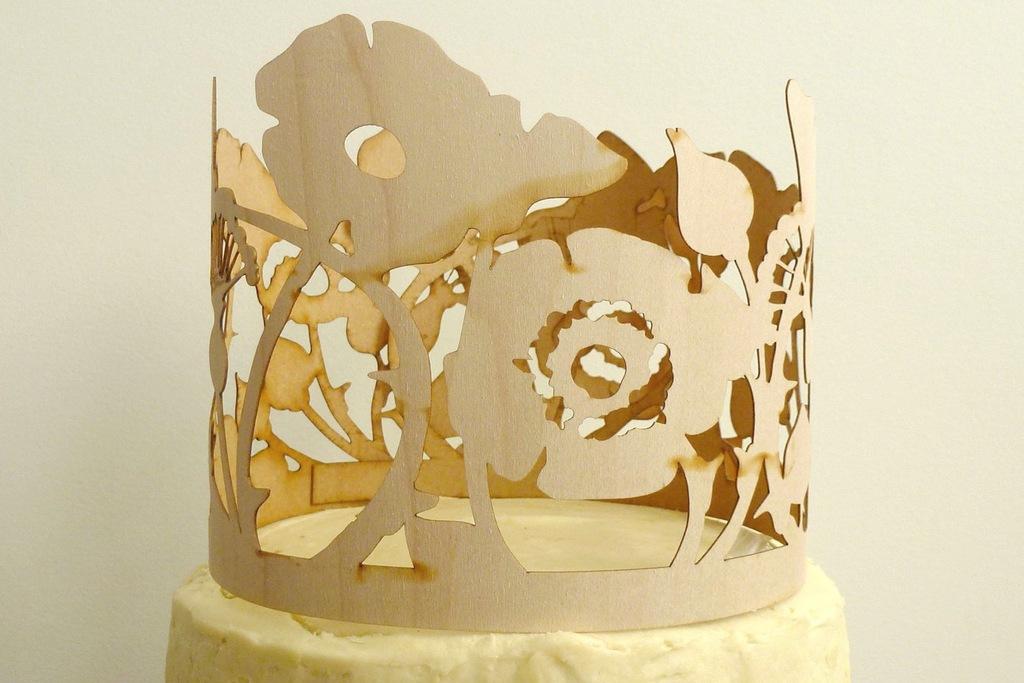 Laser cut wood wedding cake topper