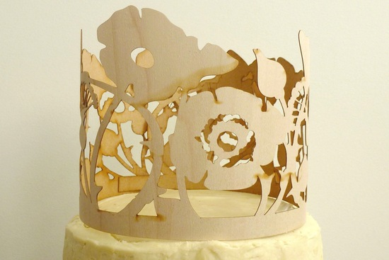 Laser cut wood wedding cake topper