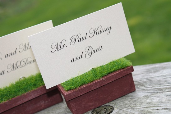 Garden wedding escort card holders planters