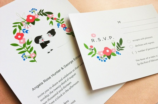 Sweet garden wedding RSVP cards