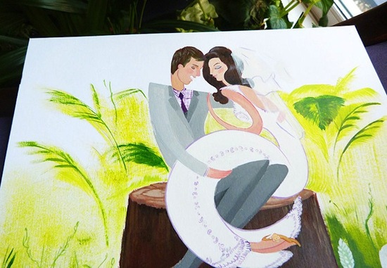 Beautiful wedding illustration for Garden nuptials