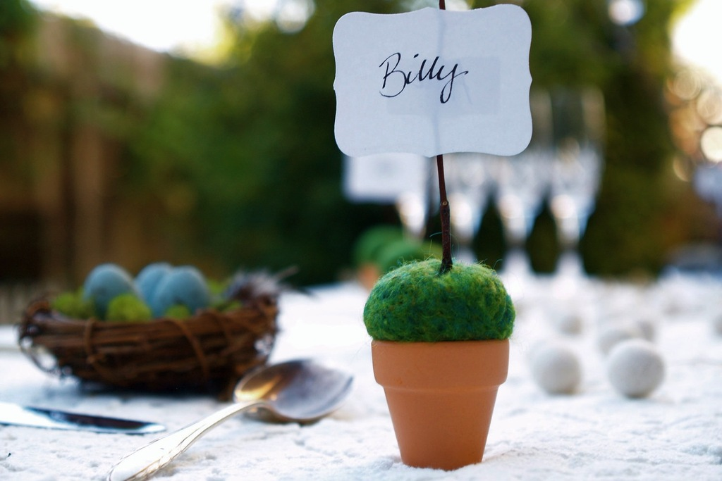 Potted wedding escort cards