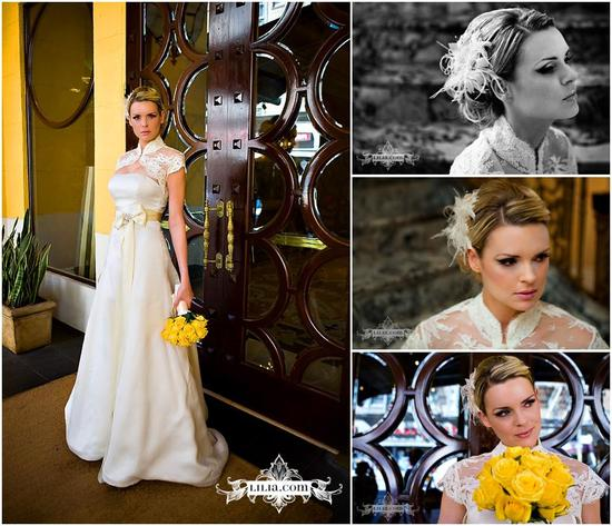Beautiful bride in vintage ivory wedding dress and lace bolero, yellow flowers, ivory feather flower
