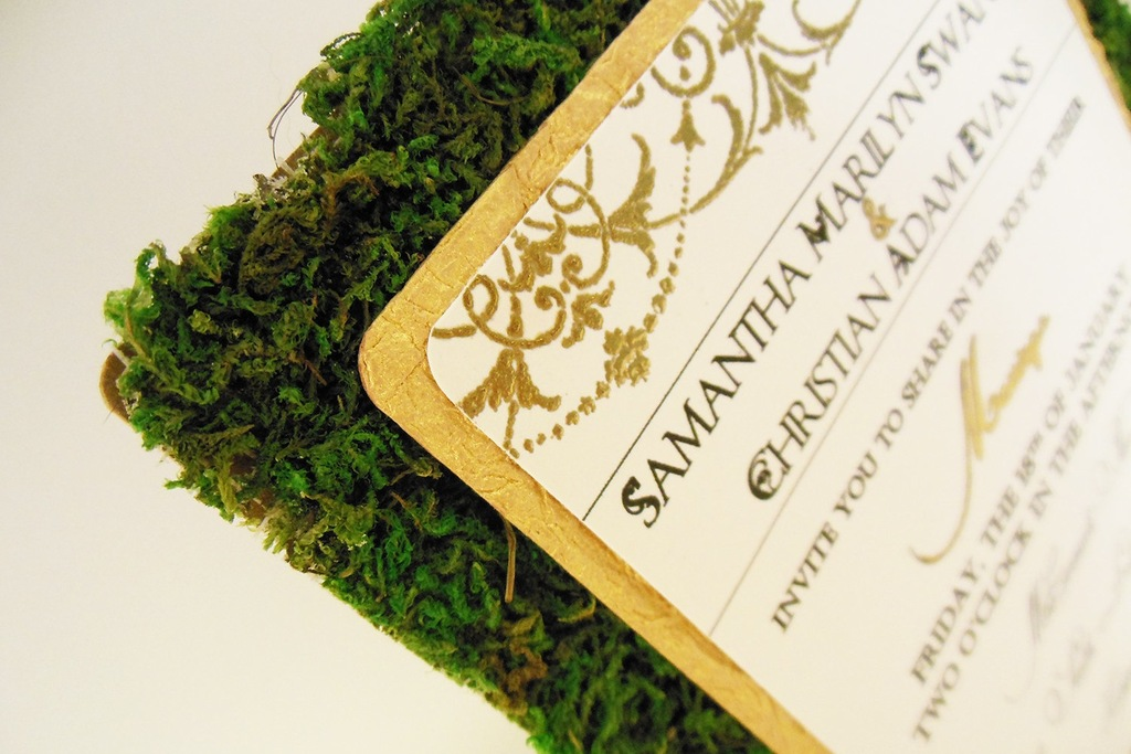 Rustic garden green gold ivory wedding invitations