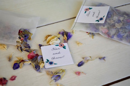 Dried petals for wedding guests to toss